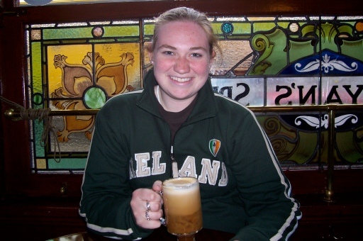 Drinking an Irish coffee at an authentic pub in Dublin.