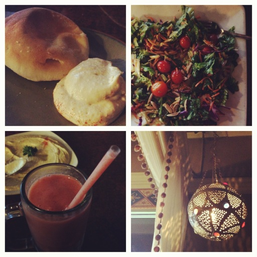 """My Valentine's Day lunch at LaPita included pita bread with hummus, the almond rice salad and """"sweet sunshine"""" smoothie. Delish!"""