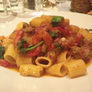 This rigatoni and sausage pasta was just the right amount of spicy.