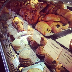 Firehook Bakery's case was full of muffins, cookies and baked delights.