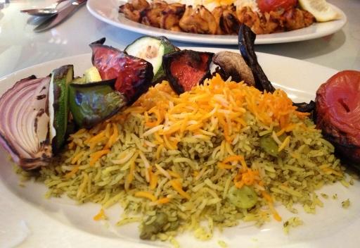 Veggie Kabob at Parsian Restaurant in Old Town Alexandria