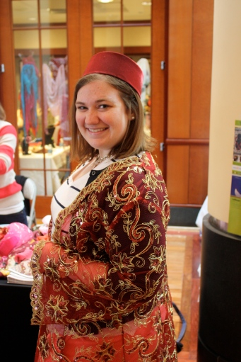 I tried on some traditional Turkish dress. The detail work was gorgeous. (Photo by Amanda Lewis.)