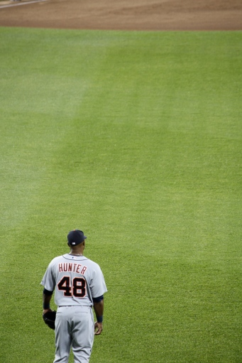 Right fielder Torii Hunter scored the Tigers' single run.