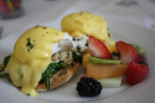 Eggs Chesapeake and fresh fruit at Mason's