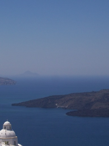 Sky and water blend into a haze of blue over the Aegean Sea. May 2006.