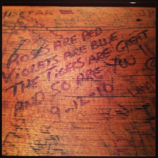 Visitors leave their mark on the picnic tables in Comerica Park's Beer Hall.