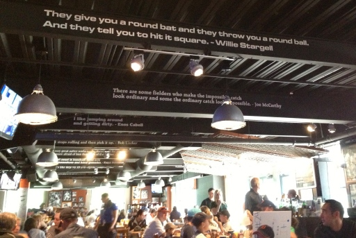 Quotes adorn the Beer Hall's beams.