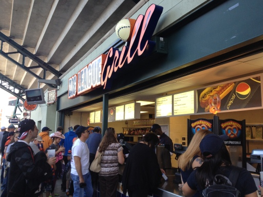 The Big League Grill is located at several spots inside the ballpark. It serves traditional baseball game fare.