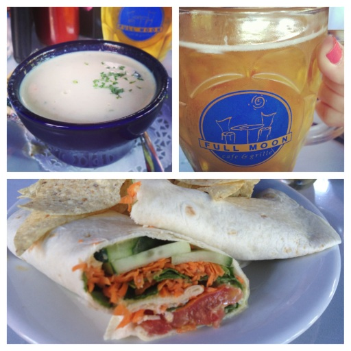 Clockwise from top left: the crab bisque, a mug of Koelsch and the Gatherer Wrap at Full Moon Cafe in Manteo, N.C.