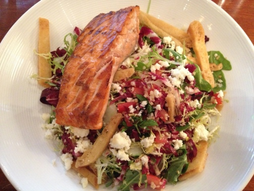 Wild Alaskan Salmon salad is radicchio, arugula, pita crisps, bulghur wheat, feta cheese, cucumbers and tomatoes in a lemon vinaigrette at The Hamilton.