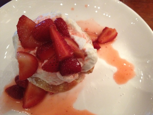 The strawberry shortcake is a sugared buttermilk biscuit topped with strawberries and sweetened whipped cream. Absolutely divine.