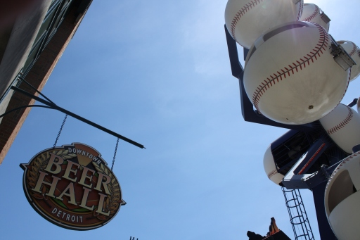 The Beer Hall is located near the Fly Ball Ferris Wheel on the third-base side of Comerica Park.