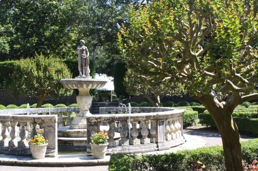 The Sunken Garden features an Italian Renaissance fountain.