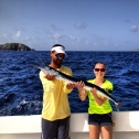 Ashley holds the gar fish she caught while deep sea fishing during her trip to St. Thomas. (Photo courtesy of Ashley Woods.)
