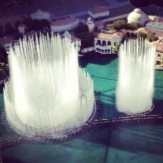 Bird's eye view of the Bellagio fountains from the Eiffel Tower at Paris via Instagram