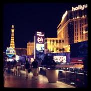 The Las Vegas strip at night near the Cosmopolitan via Instagram