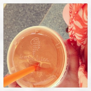 Peach Perfection smoothie at Jamba Juice at the airport. Apparently, I match my smoothie to my outfit. So color coordinated.