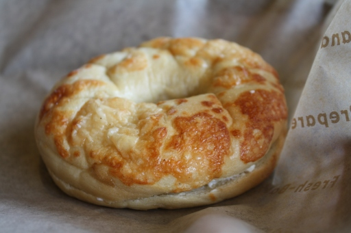 Einsteins asiago cheese bagel. So doughy! So cheesy! So delicious!