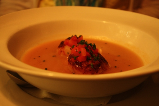 Gazpacho with blackened scallops