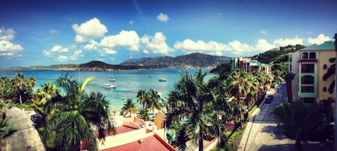 Balcony view overlooking the bay in St. Thomas. (Photo courtesy of Ashley Woods.)