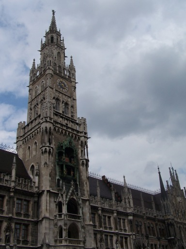 Neues Rathaus (New Town Hall) in Marienplatz. Many tourists visit to see the clock tower's Glockenspiel.
