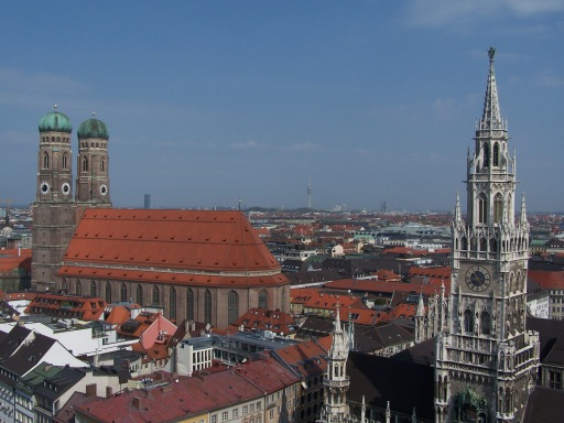 View of Munich, Germany, including the Frauenkirche and the Neues Rathaus (New Town Hall) in Marienplatz.