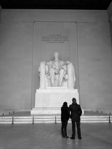 A couple looks at the Lincoln Memorial on a Friday afternoon in January 2013. Photo taken with an iPhone and edited to black and white during post-processing.