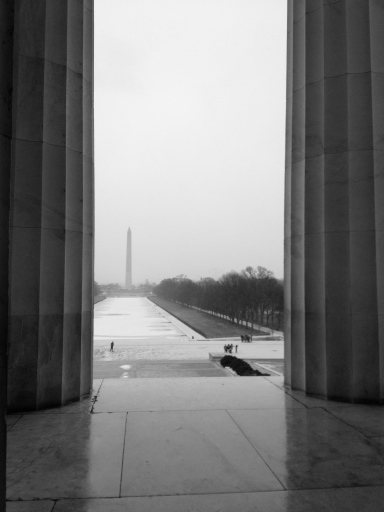 Looking out to the Washington Monument and Lincoln Memorial Reflecting Pool from the Lincoln Memorial. January 2013. iPhone photo edited to black and white in post processing.