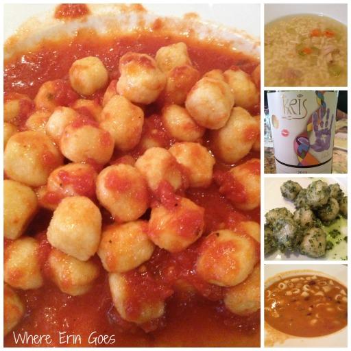 Antonio's Cucina Italiana. Pictured is the gnocchi marinara, chicken pastina soup, Kris Pinot Noir, gnocchi in pesto sauce and pasta fagioli soup.