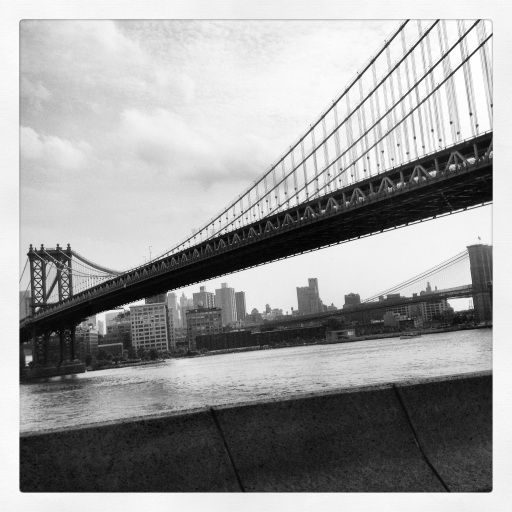 Manhattan and Brooklyn bridges. Taken from a taxicab.
