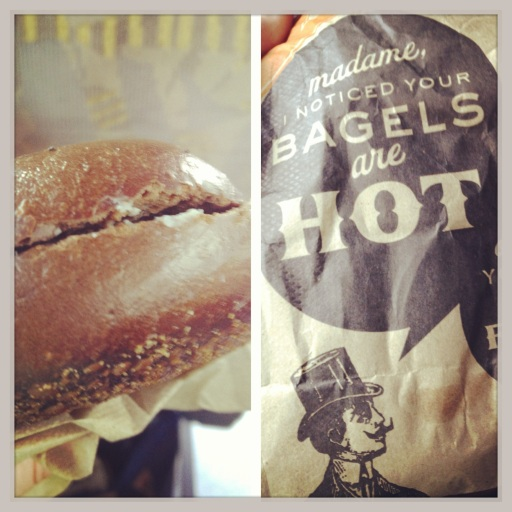 The pumpernickel bagel from Leo's Bagels and the humorous bag it was delivered in. (Instagram photo)