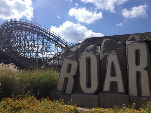 Roar at Six Flags America, a wooden roller coaster with wicked turns and stomach-dropping dips.