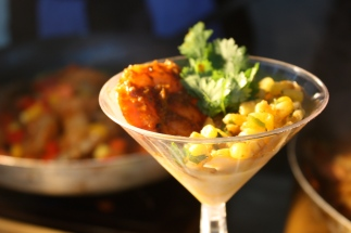 Blackened shrimp over cheddar grits and a Maryland corn relish | Where Erin Goes