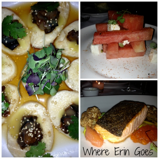 Clockwise from top right: the watermelon and feta salad, the Ora King salmon entree and the mushroom ceviche with miso aubergines and a ginger ponzu sauce at PUBLIC.