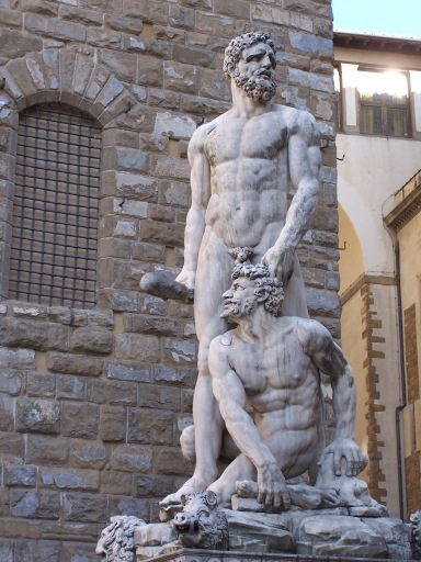 Hercules and Cacus sculpture, by Italian sculptor Baccio Bandinelli, in the Piazza della Signoria, Florence, May 2006.