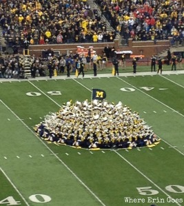 "Michigan Marching Band performs a pre-game show. Don't miss halftime! At the Nov. 9 game, the band performed ""Queen"" hits like ""Bohemian Rhapsody."""