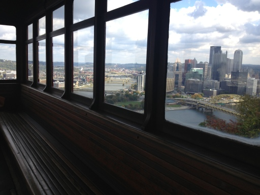 The Pittsburgh view from inside the incline.