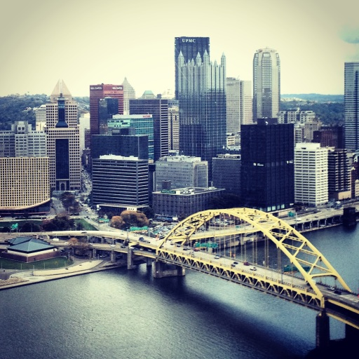 """The Mon"" and the Golden Triangle in Pittsburgh from Mount Washington. October 2013."