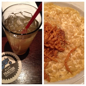 """Lipstick on a Pig"" beer cocktail and the mac & cheese at Blue Tractor in downtown Ann Arbor."