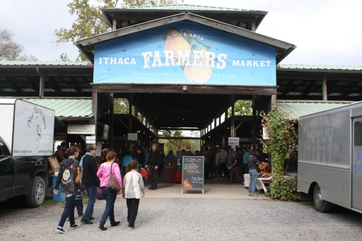Shoppers enter the Ithaca Farmers Market on Sunday, Oct. 13.