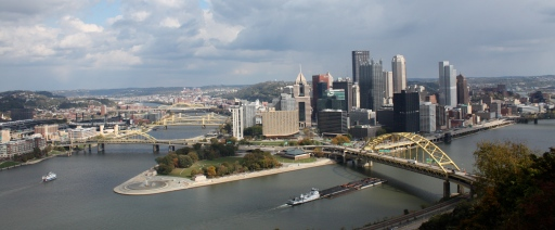 Steel City skyline panorama from the Duquesne Incline's free public observation deck.
