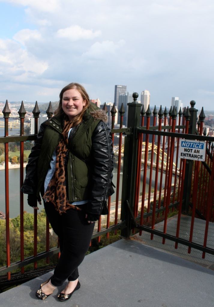 Here I am freezing on the public observation deck of the Duquesne Incline. It was late October and we spotted snow flakes, so dress warm! (Photo by Lynda Klema.)