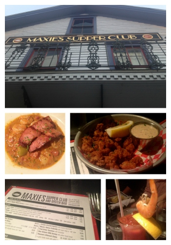 Maxie's Supper Club features Cajun flavors with dishes such as the Cajun Popcorn, a fried crawfish appetizer, and the Shrimp & Grits with andouille sausage.