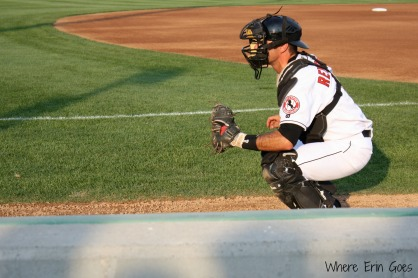 Billings Mustangs catcher J.R. Reynolds warms up.