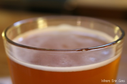 The Huckle Weizen, a sweet wheat beer made with huckleberries, at Yellowstone Valley Brewing Co. in Billings, Mont.