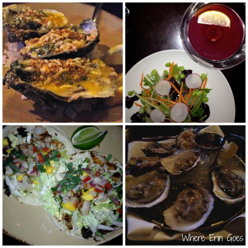 Clockwise from top left: Oysters Rockefeller, Simple Greens & Martini, 1/2 Shell Oysters and Spicy Shrimp Tacos at Gilly's at The B.O.B.
