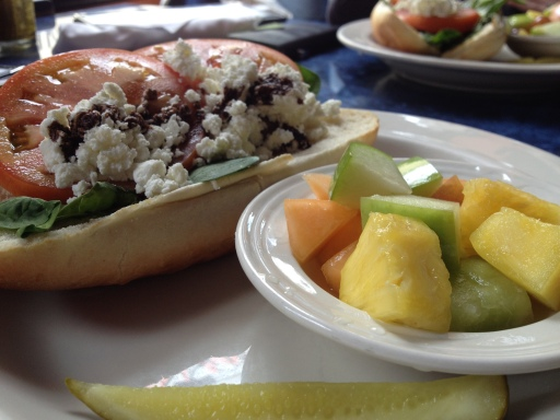 The San Chez Caprese is a light yet filling lunch option. Make it healthy with fruit on the side!