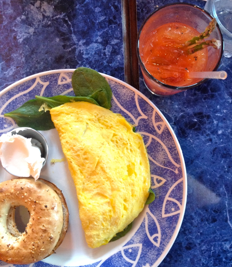 San Chez Brunch: spinach, goat cheese and tomato omelet; an everything bagel with cream cheese and a Bloody Mary. It hit the spot!