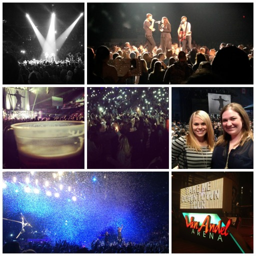 "Left to right, from top row: Lady Antebellum opens their set; Lady A performing oh so close; drinking beer during Kip Moore's ""Beer Money""; phones and lighters for Lady A; Ashley and me after Kip's set; Lady A's confetti finale; outside Van Andel before the show!"
