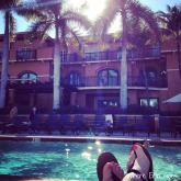 Sunshine and temperatures in the 70s and 80s made sunbathing by the Bellasera Hotel's pool irresistible. (Instagram photo by @erinklema)